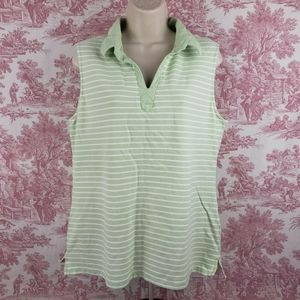 Basic Editions Womens Tank Top Green White